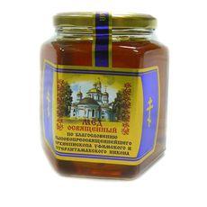"""Мёд """"Освященный"""" в стеклянной банке 0,4 кг"""
